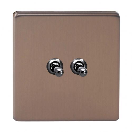 Varilight XDYT2S.BZ Screwless Brushed Bronze 2 Gang 10A 1 or 2 Way Toggle Light Switch